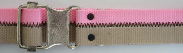 Stoffgürtel , Ringschließe, gemustert rosa/sand