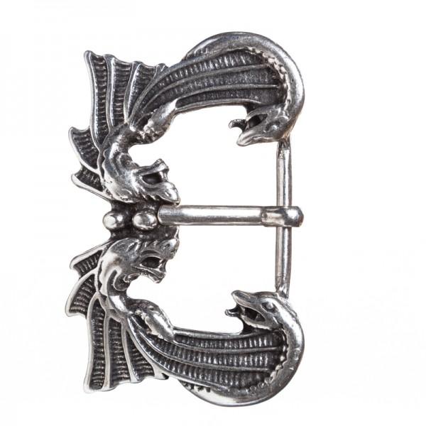 Drachenkuss, 3,5cm, silberne Mittelalter-Schließe