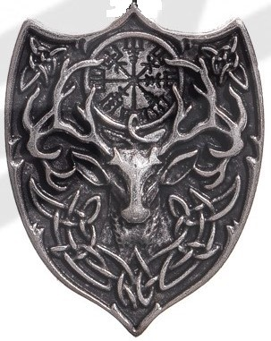 Hirsch-Wappen, silberfarbener Beschlag