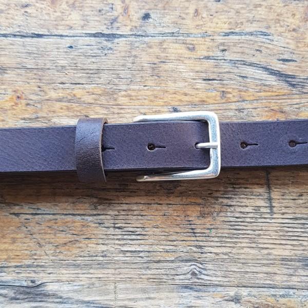 KRISS, 2,5cm, dunkelbrauner Büffelledergürtel, altsilberfarbene Schließe