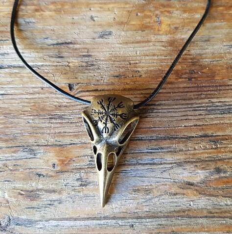 Halskette Raben-Schädel 'AEGISHJALMUR', messingfarben