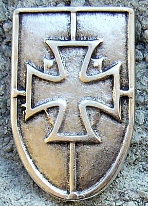Kreuz-Schild, silberfarbener Beschlag