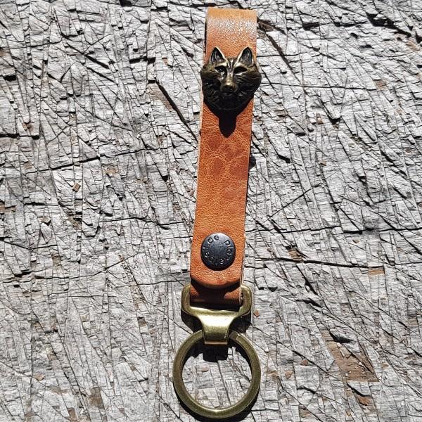 Schlüsselanhänger SLING, Wolfkopf, messing