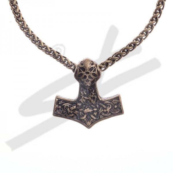 PK 5118-21 Halskette Thor-Hammer , altmessingfarben