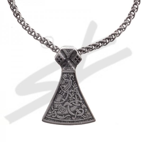 Halskette Mittelalter Mammen Axt , silberfarben
