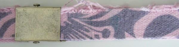 Stoffgürtel Koppel, gemustert, Vintage rosa/grau