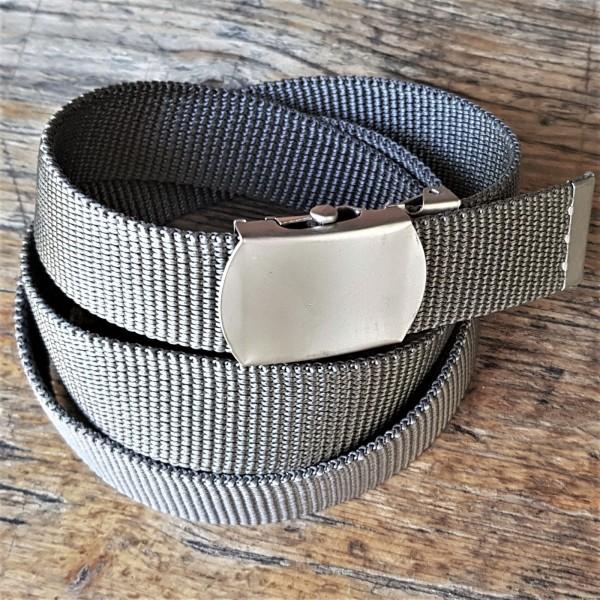 Stoffgürtel grau, 3cm breit, Schließe silbern oder messing