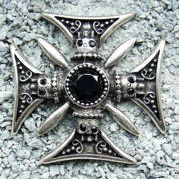 Achat Skull-Cross, silberfarbener Beschlag