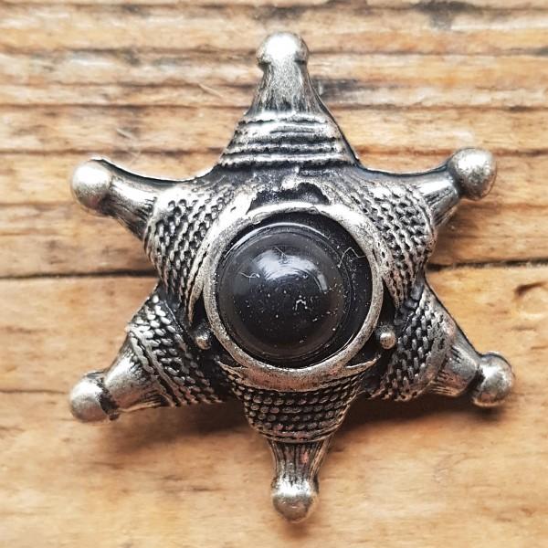 Stern, gebundenes Hexagramm, silberne Zierniete mit schwarzer Kunst-Perle