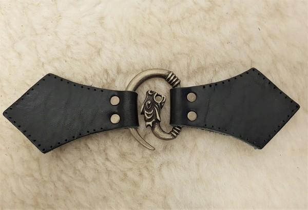 Drachenkopf-Mantel-Verschluß, altmessing, mit Befestigungsleder