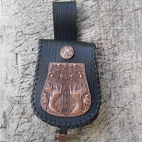 RIBE, Gürteltasche MAGYAR-Löwen, Rinde schwarz