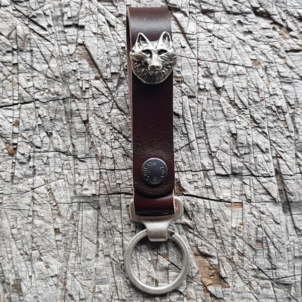 Schlüsselanhänger SLING, Wolfkopf, silber
