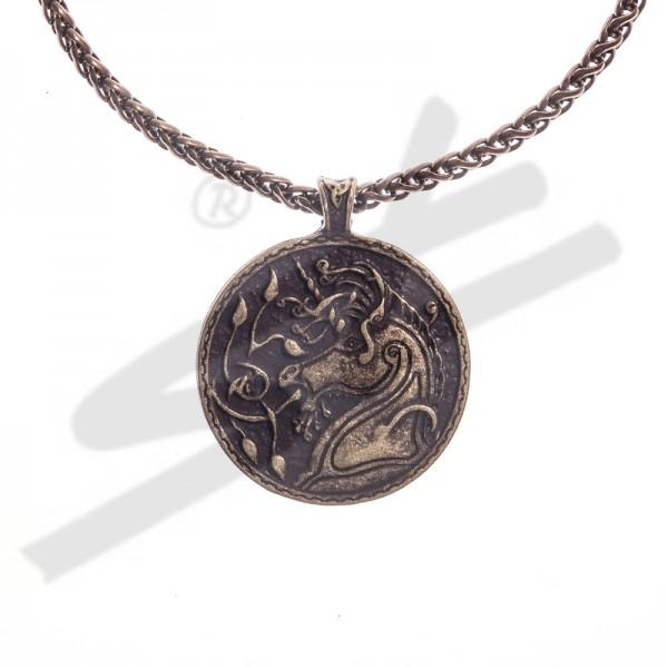 Halskette keltisches Einhorn, altmessingfarben