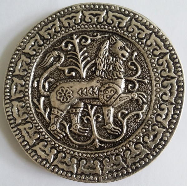 Magyarische runde Taschenplatte, silberfarben, Löwe