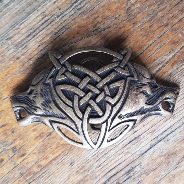 Celtic Wolves - 4cm Schließe bronzefarben