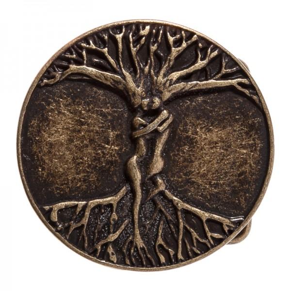 Weltenbaum-Schließe, Baum der Liebenden altmessingfarben 4cm