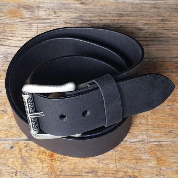 NORMAN, 5cm, schwarzer Büffelledergürtel, alteisenfarbene Schließe