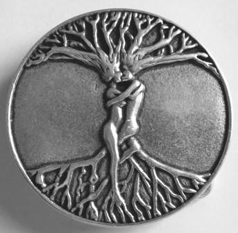 B 605-1 Weltenbaum-Schließe, Baum der Liebenden silberfarben 4cm