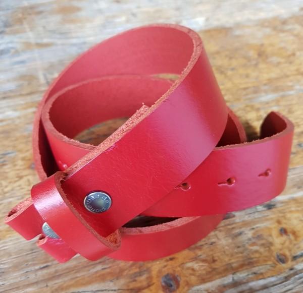 4 cm breiter Blankleder-Riemen, Druckknopf-Wechselgürtel