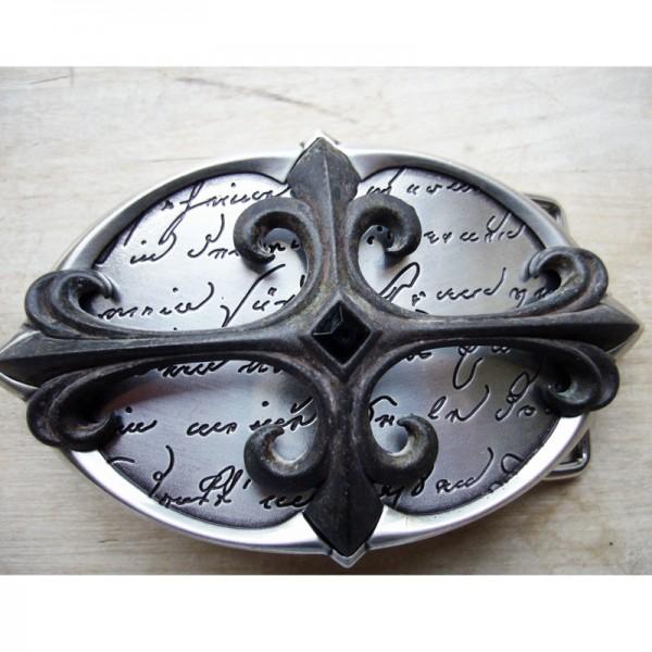 Antic Cross, 4cm,silberfarbene Lilien-Gürtelschließe
