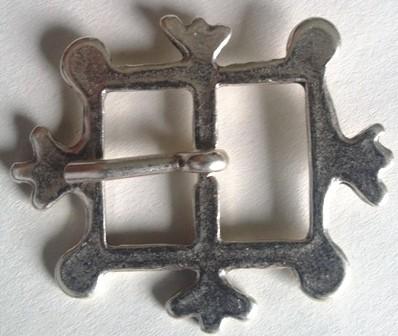 mittelalterliche Kronen-Schließe, 2cm, silberfarben