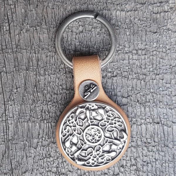 Schlüsselanhänger KELTISCHER PFERDE-KREIS silberfarben