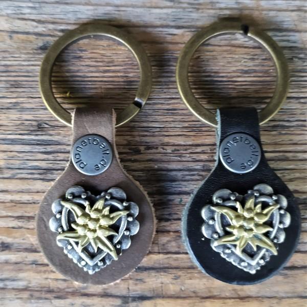 Schlüsselanhänger EDELWEISS-HERZ GOLD