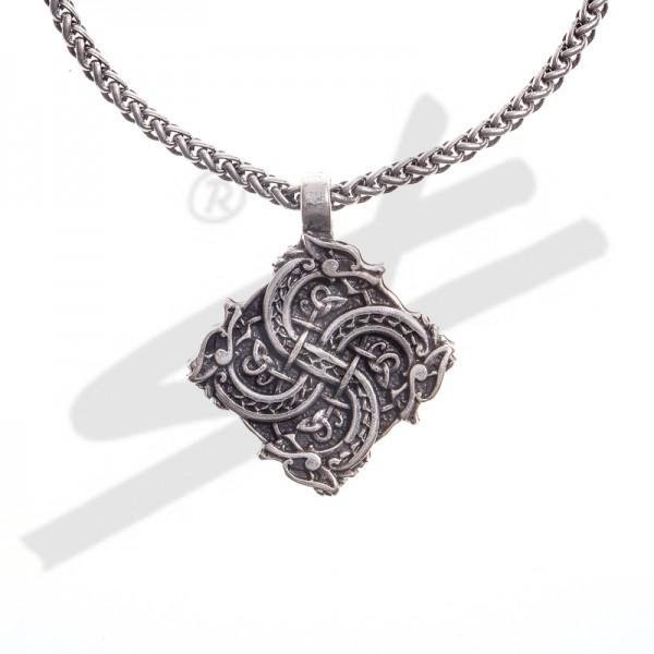 Halskette keltisches Drachenkreuz, silberfarben