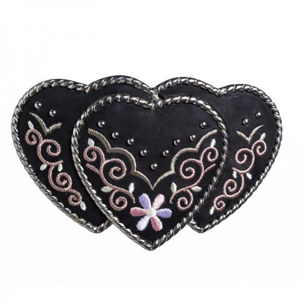 Heart Country, 4cm, schwarze bestickte Gürtelschließe