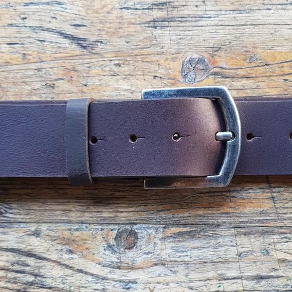 FRED, 4,5cm, dunkelbrauner Büffelledergürtel, alteisenfarbene Schließe