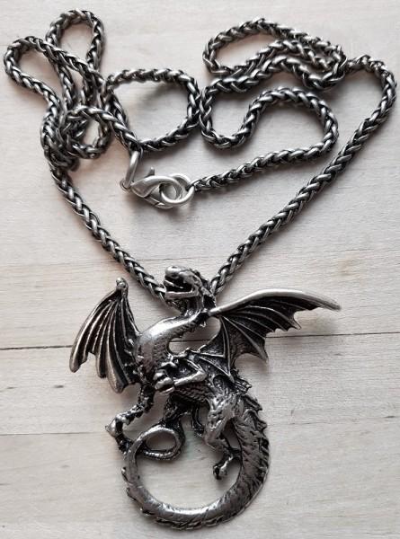 Halskette Nordischer Drache, silberfarben