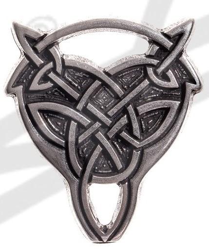 Gürtel-Spitze keltischer Wolfskopf-Knoten Breite 38mm, silberfarben