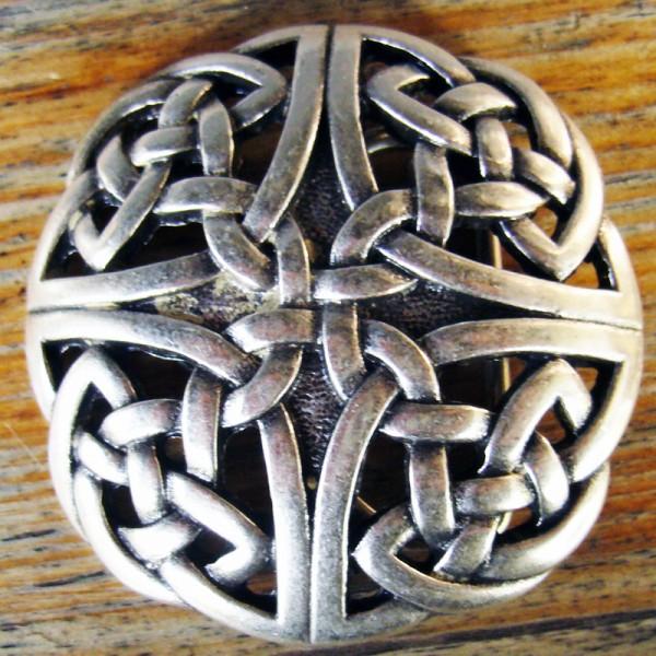 HIBERNIA, 4cm,silberfarbene keltische Knoten-Gürtelschließe