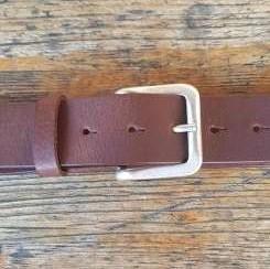 STEVE, 4cm, cognacfarbener Büffelledergürtel, altsilberfarbene Schließe