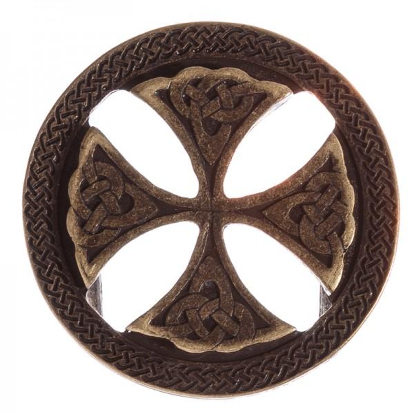Keltenkreuz-Schließe, 4cm, altmessingfarben