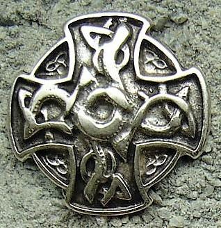 Drachen Kreuz, silberfarbener Beschlag