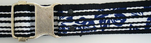 Stoffgürtel , Ringschließe, gemustert Hibiskus gestreift schwarz