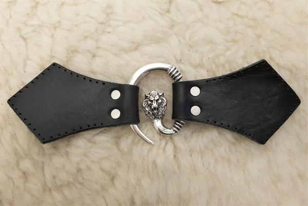 Löwenkopf Mantel-Verschluß, silbern mit Befestigungsleder