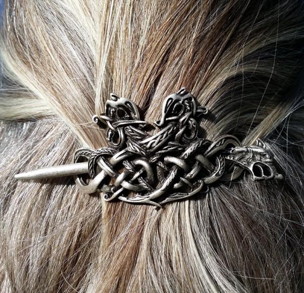 Haarspange KELTISCHE SCHLANGEN, silberfarben