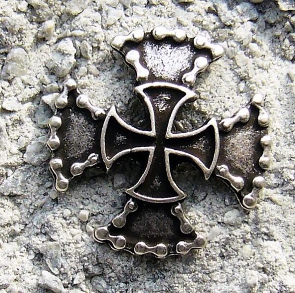 Motorrad-Ketten-Kreuz mit Ritterkreuz, silberfarbener Beschlag