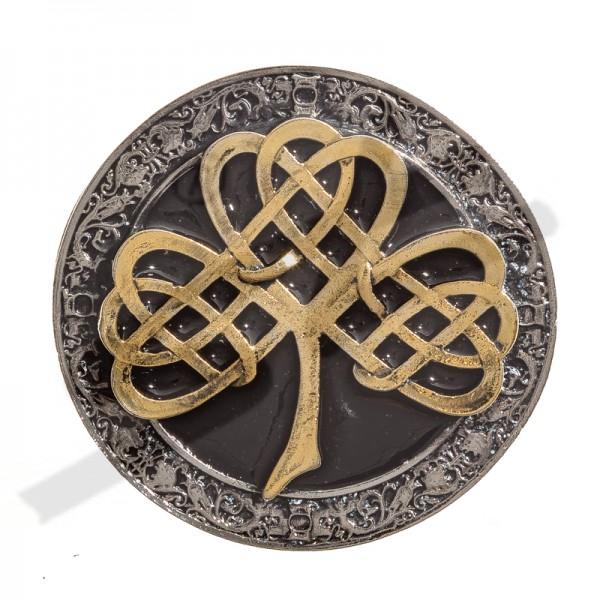 Rundschließe irisches Kleeblatt - SHAMROCK - 4cm, Zinnschließe