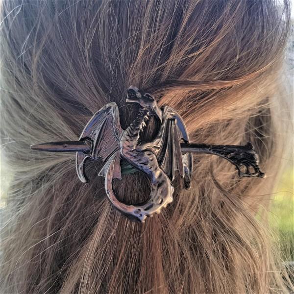 Haarspange WYVERN, eisenfarbener nordischer Drache