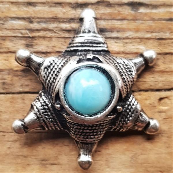 Stern, gebundenes Hexagramm, silberne Zierniete mit türkiser Kunst-Perle