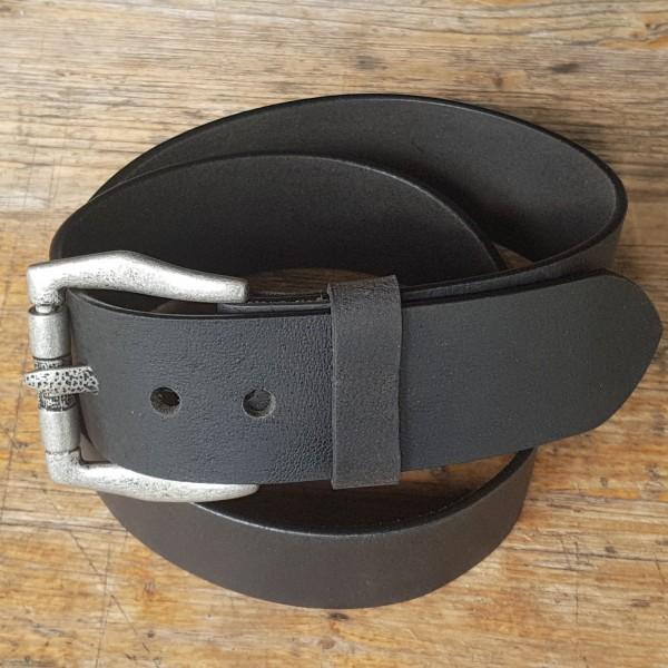GOTH, 5cm, schwarzer Büffelledergürtel, alteisenfarbene Schließe