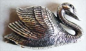 Swan, 4cm, silberne Gürtelschließe