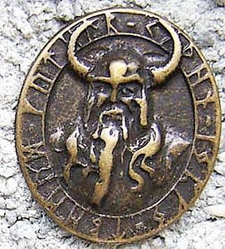 N-233-21 Odin Amulett, silberfarbener Beschlag