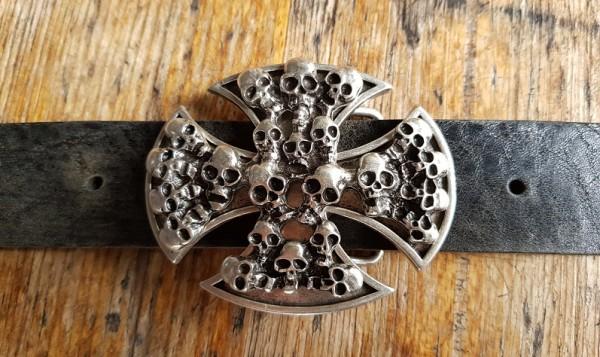 Skull-Cross, 4cm, silberfarbene Koppelschließe