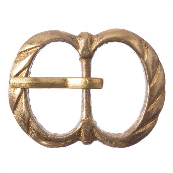 Mittelalter-Doppelschließe, 15mm. Vollmessing