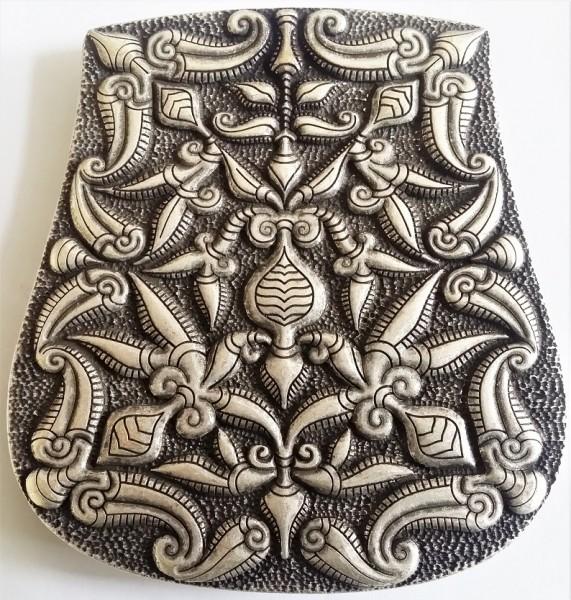 Magyarische Taschenplatte, silberfarben, Pflanzenmotiv