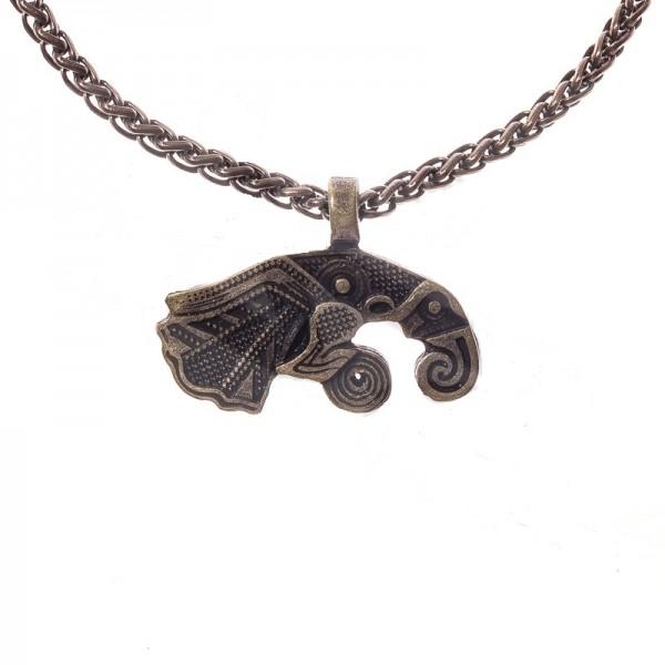 PK 5122-21 Halskette Rabe HUGIN , altmessingfarben